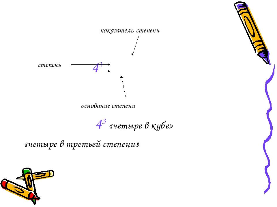показатель степени 43 основание степени 43 «четыре в кубе» «четыре в третьей...