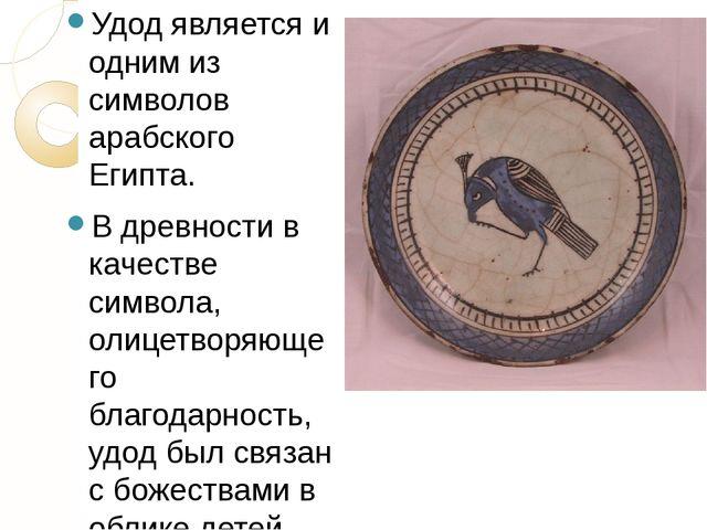 Удод является и одним из символов арабского Египта. В древности в качестве си...