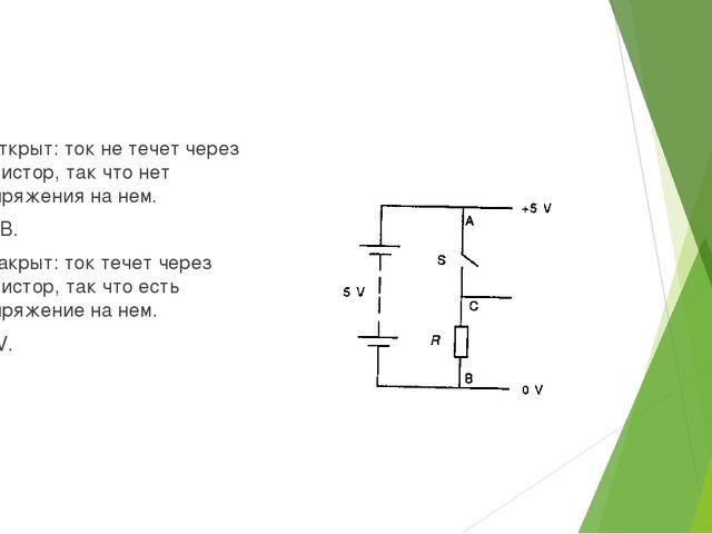 S открыт: ток не течет через резистор, так что нет напряжения на нем. Vo =0...