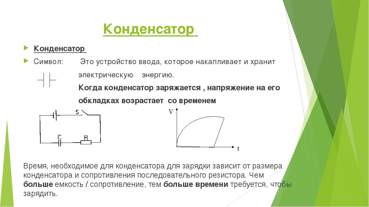 Конденсатор Конденсатор Символ: Это устройство ввода, которое накапливает и х...