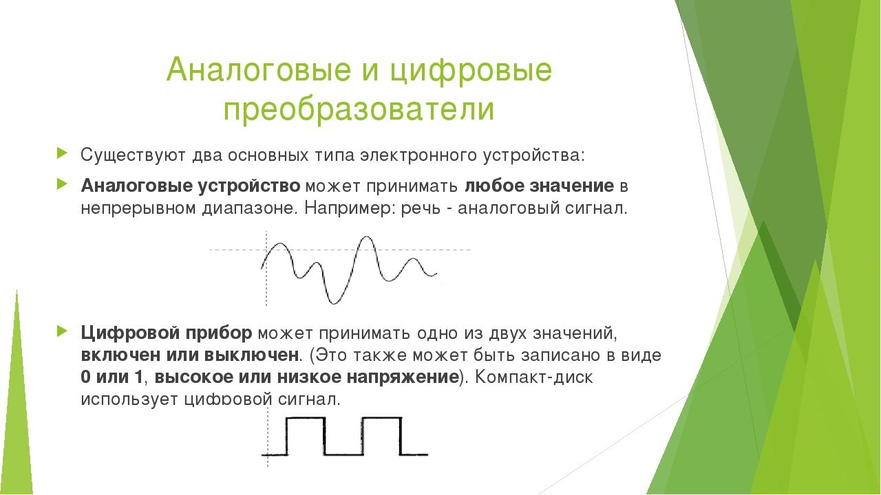 Аналоговые и цифровые преобразователи Существуют два основных типа электронно...