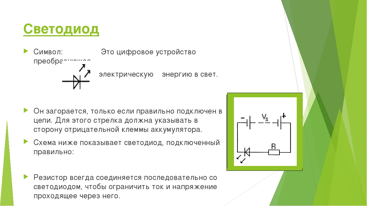 Светодиод Символ: Это цифровое устройство преобразующее электрическую энергию...