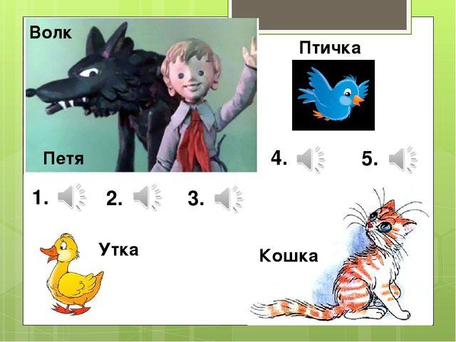 Петя Волк Утка Птичка Кошка 1. 2. 3. 4. 5.