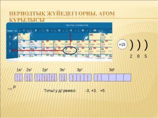 +15 Р 1s2 2s2 2p6 3s2 3p3 3d0 Тотығу дәрежесі: -3, +3, +5 +15 ) ) ) 2 8 5