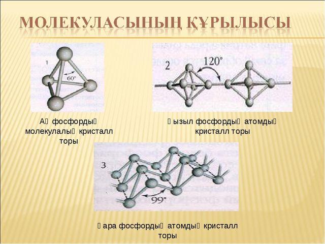 Ақ фосфордың молекулалық кристалл торы Қызыл фосфордың атомдық кристалл торы...