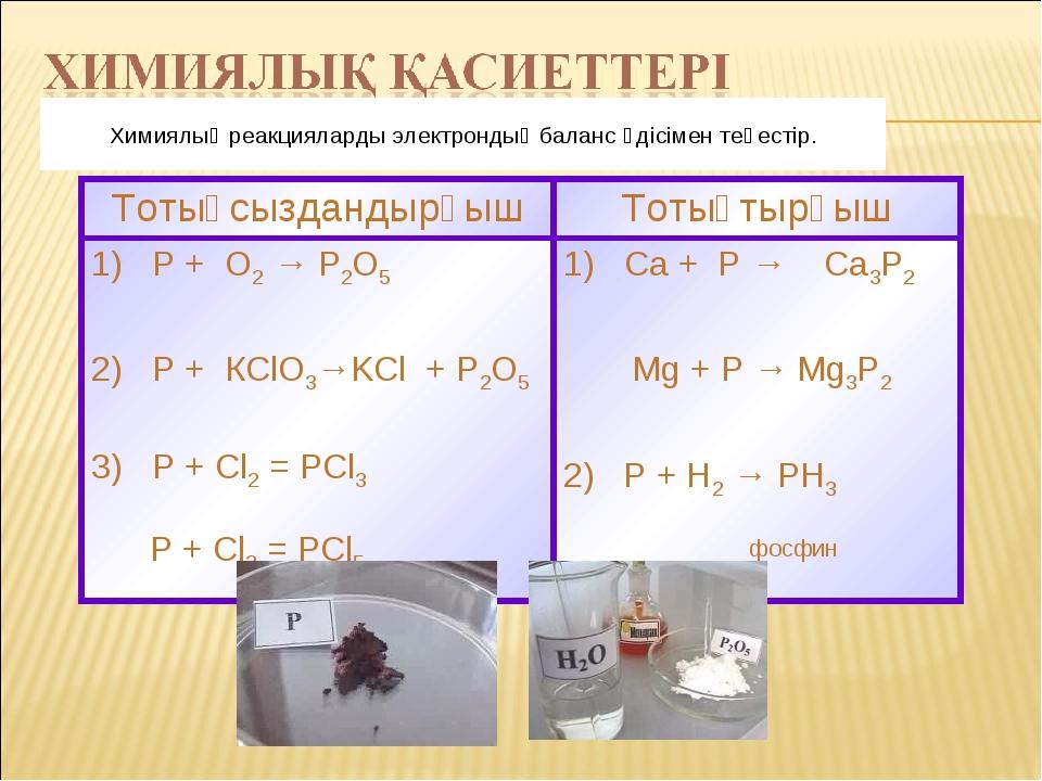 Химиялық реакцияларды электрондық баланс әдісімен теңестір. Тотықсыздандырғыш...