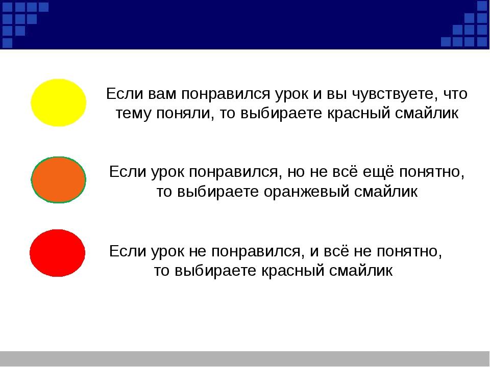 Если вам понравился урок и вы чувствуете, что тему поняли, то выбираете красн...