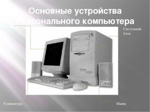 Основные устройства персонального компьютера Системный блок Мышь Монитор Клав