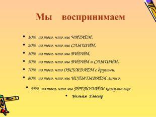 10% из того, что мы ЧИТАЕМ, 20% из того, что мы СЛЫШИМ, 30% из того, что мы В