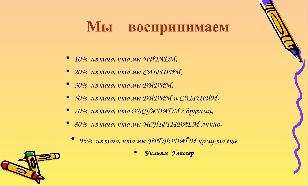 10% из того, что мы ЧИТАЕМ, 20% из того, что мы СЛЫШИМ, 30% из того, что мы В...