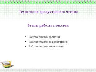 Этапы работы с текстом Работа с текстом до чтения Работа с текстом во время ч