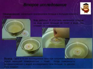 Второе исследование Оборудование: маленькое фарфоровое блюдце и большая емкос