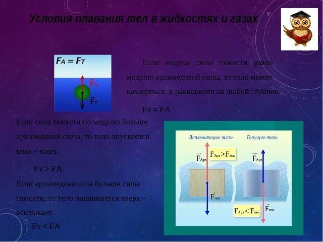 Условия плавания тел в жидкостях и газах Если сила тяжести по модулю больше а...