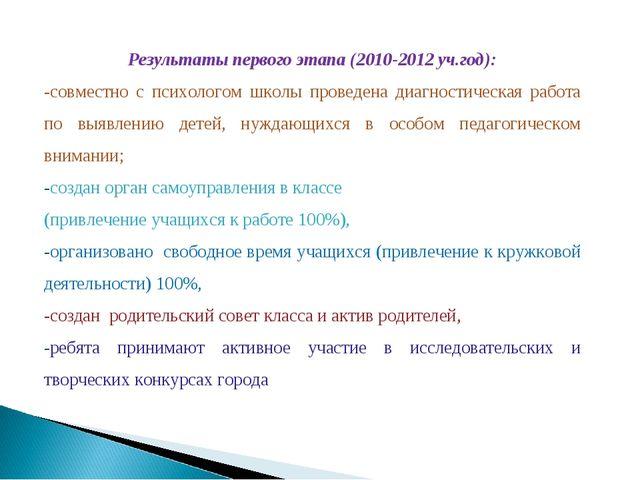 Результаты первого этапа (2010-2012 уч.год): -совместно с психологом школы пр...