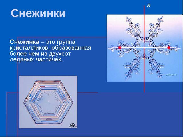 Снежинки Снежинка – это группа кристалликов, образованная более чем из двухсо...