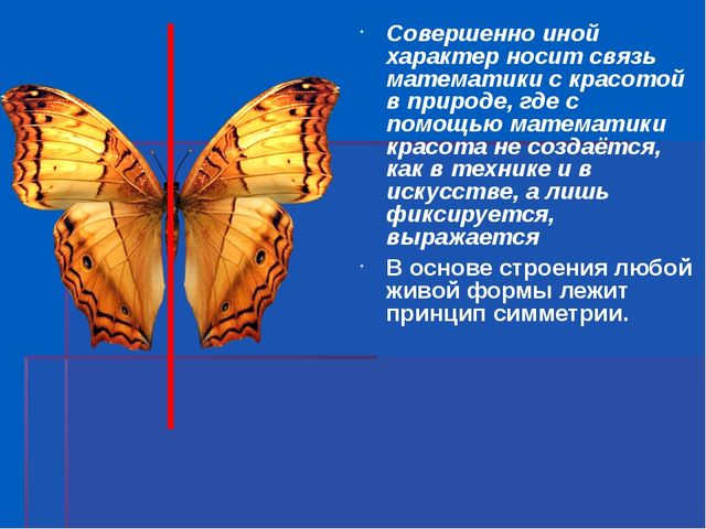 Совершенно иной характер носит связь математики с красотой в природе, где с п...