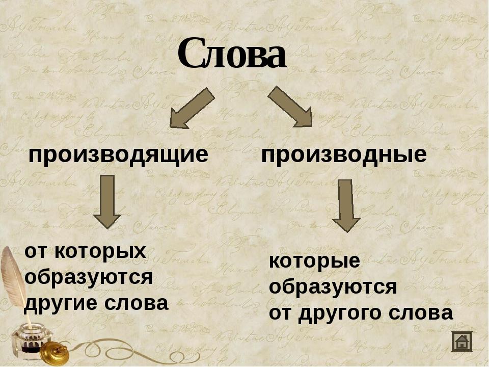 Слова производящие производные от которых образуются другие слова которые обр...