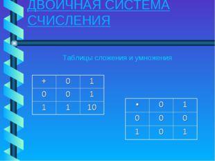 ДВОИЧНАЯ СИСТЕМА СЧИСЛЕНИЯ Таблицы сложения и умножения +01 001 1110 •