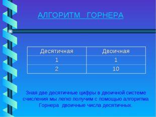 АЛГОРИТМ ГОРНЕРА Зная две десятичные цифры в двоичной системе счисления мы ле