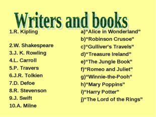 1.R. Kipling 2.W. Shakespeare 3.J. K. Rowling 4.L. Carroll 5.P. Travers 6.J.R