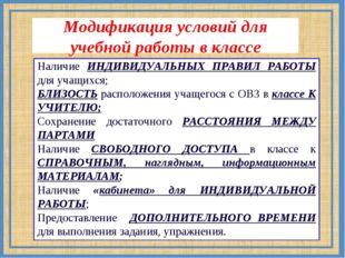 Модификация условий для учебной работы в классе Наличие ИНДИВИДУАЛЬНЫХ ПРАВИЛ