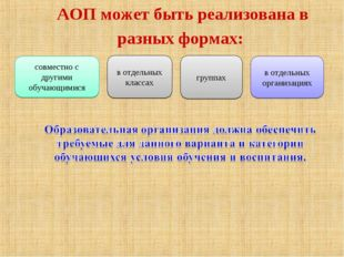 АОП может быть реализована в разных формах: совместно с другими обучающимися