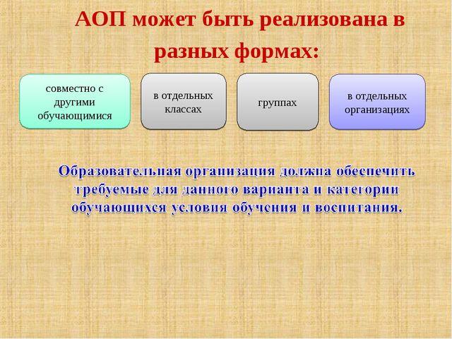 АОП может быть реализована в разных формах: совместно с другими обучающимися...