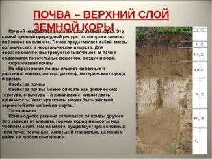 ПОЧВА – ВЕРХНИЙ СЛОЙ ЗЕМНОЙ КОРЫ Почвой называется верхний слой земной кор