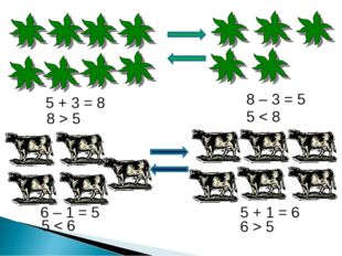 8 – 3 = 5 5 + 3 = 8 5 + 1 = 6 6 – 1 = 5 5 < 8 8 > 5 6 > 5 5 < 6