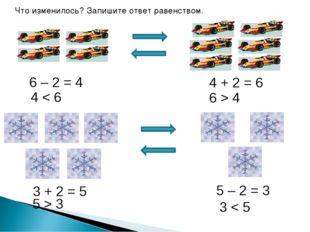 Что изменилось? Запишите ответ равенством. 4 + 2 = 6 6 – 2 = 4 5 – 2 = 3 3 +