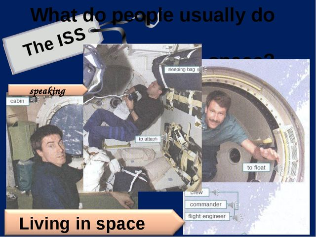 What do people usually do in space? The ISS speaking Living in space Предлож...