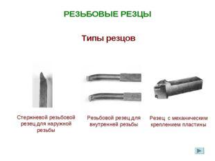 РЕЗЬБОВЫЕ РЕЗЦЫ Типы резцов Стержневой резьбовой резец для наружной резьбы Ре