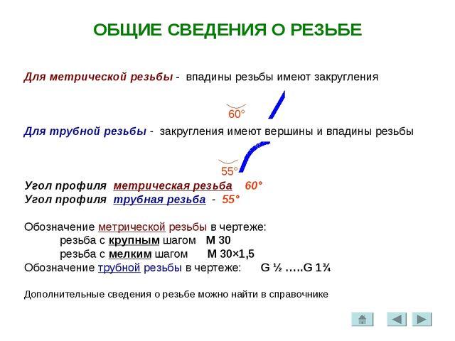 ОБЩИЕ СВЕДЕНИЯ О РЕЗЬБЕ Для метрической резьбы - впадины резьбы имеют закругл...