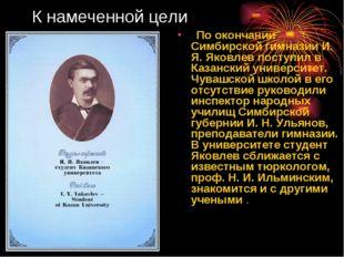 К намеченной цели По окончании Симбирской гимназии И. Я. Яковлев поступил в К