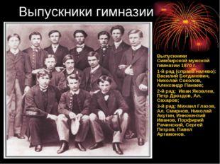 Выпускники гимназии Выпускники Симбирской мужской гимназии 1870 г. 1-й рад (с