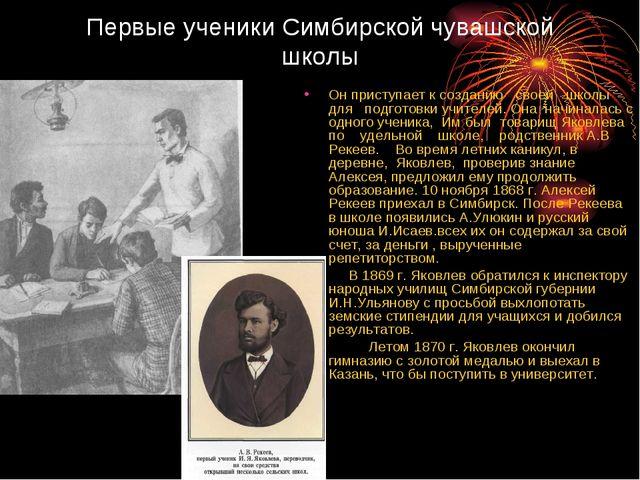 Первые ученики Симбирской чувашской школы Он приступает к созданию своей школ...