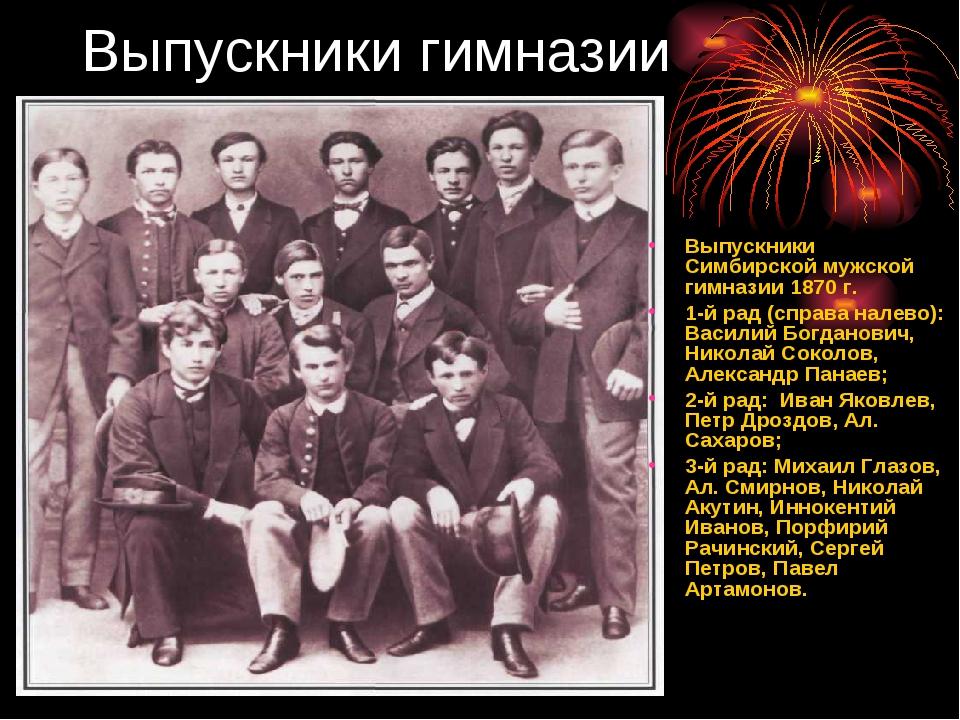 Выпускники гимназии Выпускники Симбирской мужской гимназии 1870 г. 1-й рад (с...