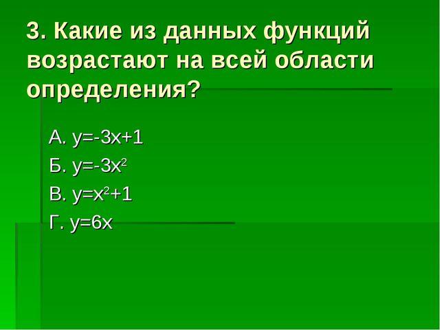 3. Какие из данных функций возрастают на всей области определения? А. y=-3x+1...