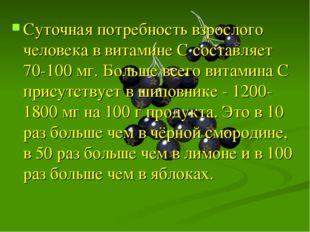 Суточная потребность взрослого человека в витамине C составляет 70-100 мг. Бо