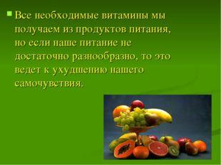 Все необходимые витамины мы получаем из продуктов питания, но если наше питан
