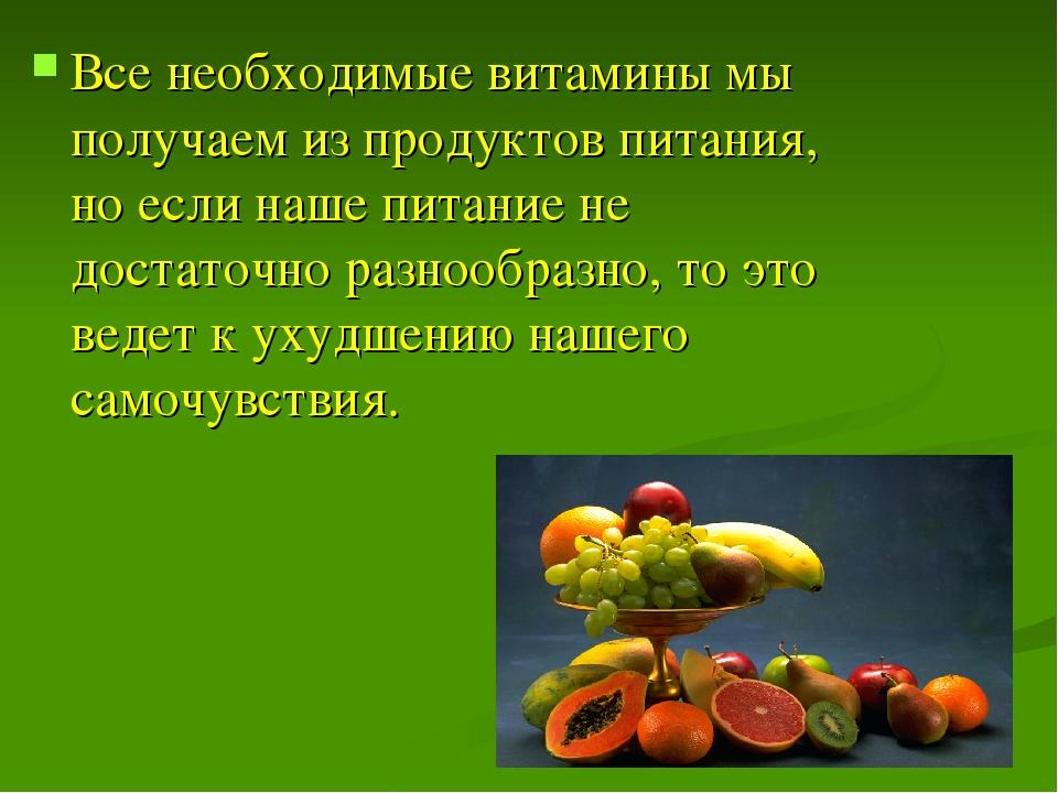 Все необходимые витамины мы получаем из продуктов питания, но если наше питан...