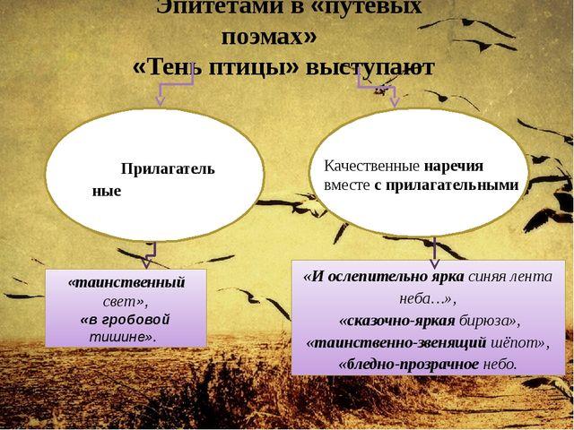 Эпитетами в «путевых поэмах» «Тень птицы» выступают «И ослепительно ярка син...