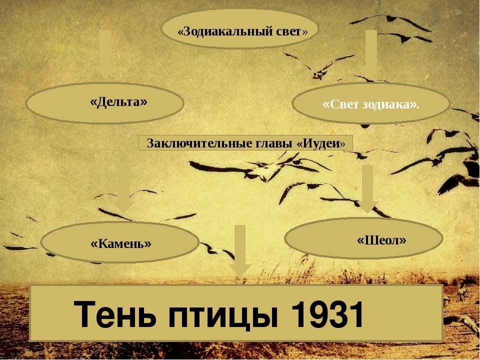 «Свет зодиака». Тень птицы 1931 «Зодиакальный свет» «Дельта» Заключительные...