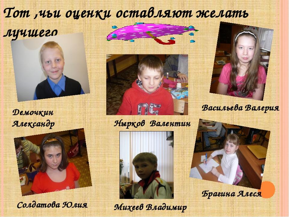 Тот ,чьи оценки оставляют желать лучшего Михеев Владимир Демочкин Александр В...
