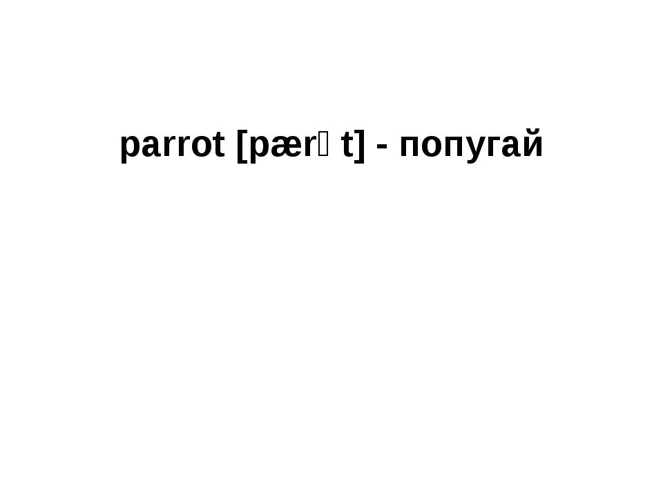 parrot [pærət] - попугай