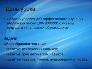 Цель урока: Создать условия для эффективного изучения английских чисел 100-10
