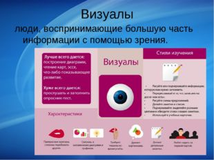Визуалы люди, воспринимающие большую часть информации с помощью зрения.