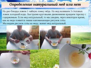 Определение натуральный мед или нет На дно блюдца ложем 1 чайную ложку мёда.