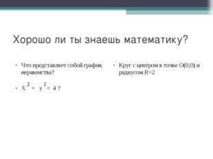 Хорошо ли ты знаешь математику? Что представляет собой график неравенства? Х