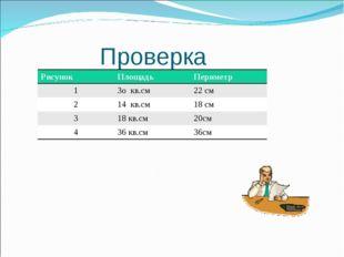 Проверка РисунокПлощадьПериметр 13о кв.см22 см 214 кв.см18 см 318 кв.
